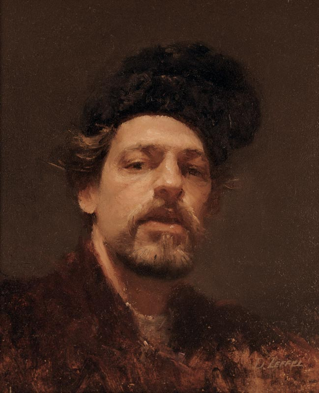 David A. Leffel, Self-Portrait with a Fur Hat, 1964. Oil on canvas, 12 x 10 in.