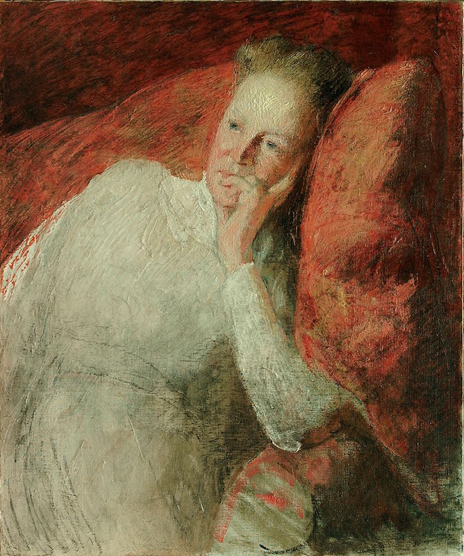 """J. Alden Weir, Portrait of Mrs. Ella Baker Weir, c. 1900 - 1910 Oil on canvas, 30 x 25 1/2"""" Brigham Young University Museum of Art Purchase/Gift of Mahonri M. Young Estate, 1959"""