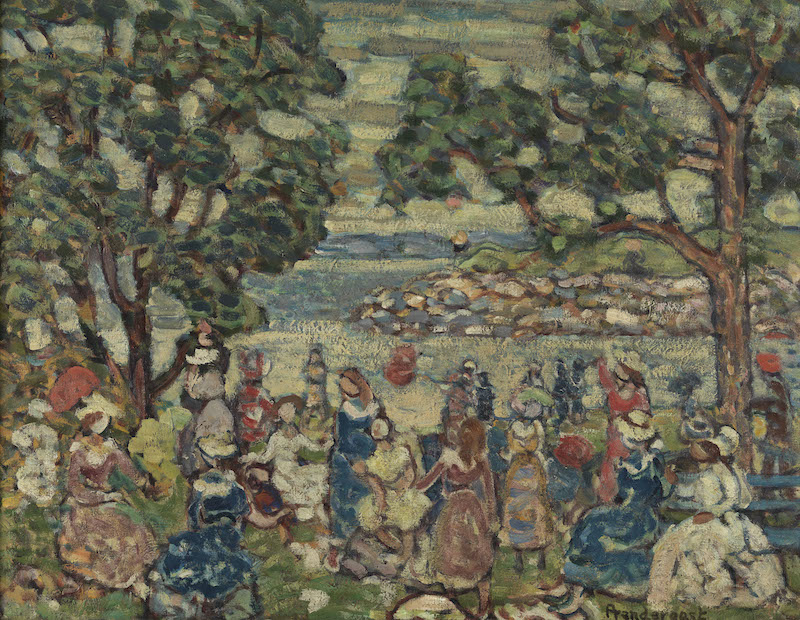 Maurice B. Prendergast, Promenade, c. 1915-18. Oil on canvas, 24 x 31 in. Pennsylvania Academy of the Fine Arts, Philadelphia, The Vivian O. and Meyer P. Potamkin Collection, Bequest of Vivian O. Potamkin, 2003.1.9