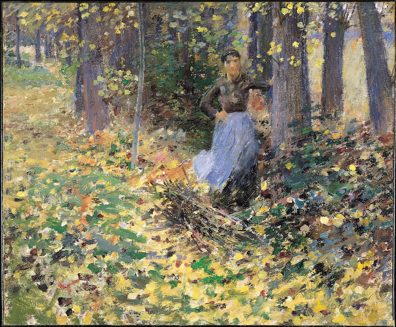 Theodore Robinson, Autumn Sunlight (In the Woods), 1888. Oil on canvas, 18 1/8 x 21 3/4 inches Florence Griswold Museum, Gift of The Hartford Steam Boiler Inspection and Insurance Company