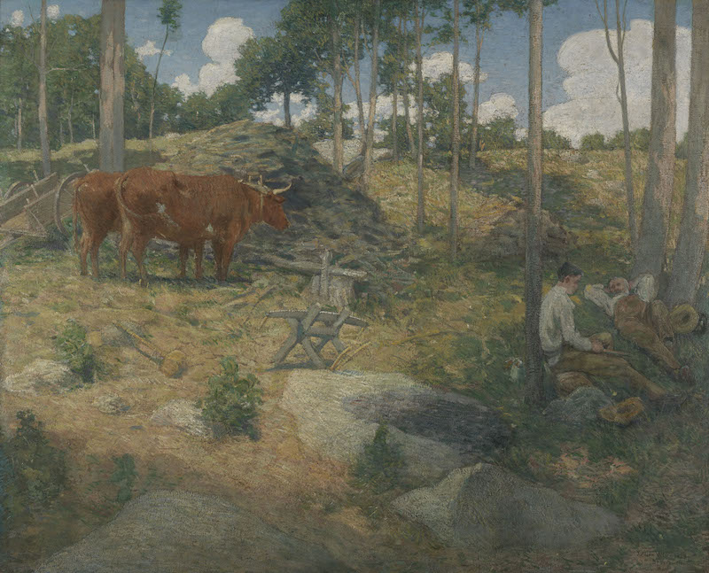 J. Alden Weir, Midday Rest in New England, 1897. Oil on canvas, 39 5/8 x 50 3/8 in. Pennsylvania Academy of the Fine Arts, Philadelphia, Gift of Isaac H. Clothier, Edward H. Coates, Dr. Francis W. Lewis, Robert C. Ogden, and Joseph G. Rosengarten, 1898.9