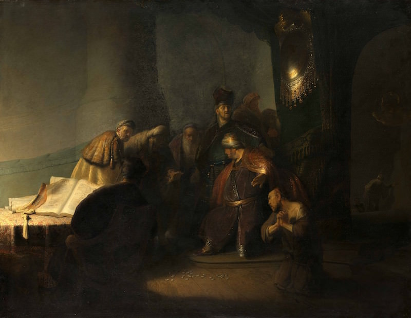 Rembrandt, Judas Returning the Thirty Pieces of Silver, 1629. Oil on oak panel, 31 x 41½ in.