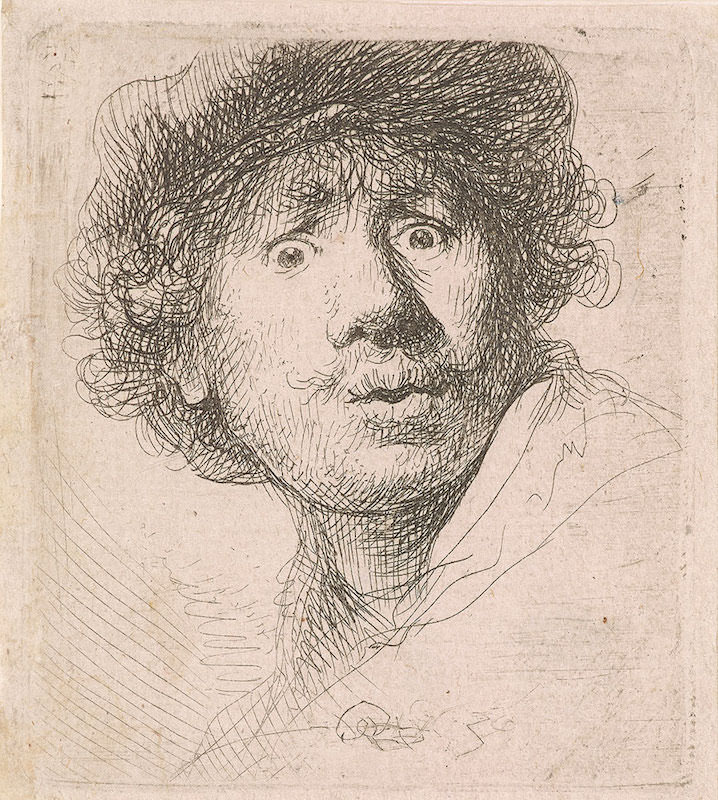 Rembrandt van Rijn, Self- Portrait in a Cap, Wide-Eyed and Open- Mouthed, 1630. Etching and drypoint, state II (of II). The Morgan Library & Museum.