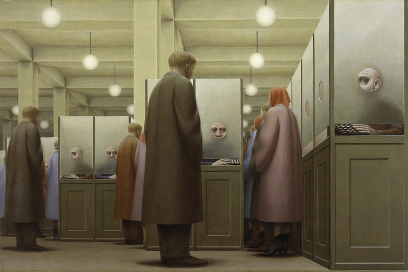 George Tooker. Government Bureau, 1956. Egg tempera on gesso panel, 20 x 30 inches. Collection of the Metropolitan Museum of Art. ©Estate of George Tooker. Courtesy of DC Moore Gallery, New York.