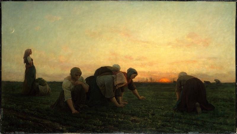 Jules Breton, The Weeders, 1868. Oil on canvas, 28 1/8 x 50 1/4 in. Bequest of Collis P. Huntington, 1900. The Metropolitan Museum of Art.