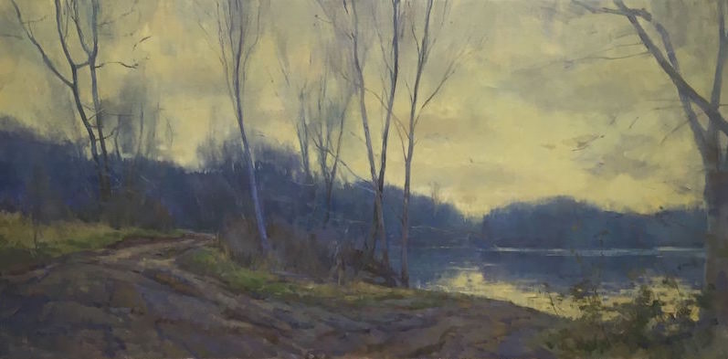Peggy Root, Winter Watauga River, 2016. Oil on canvas.