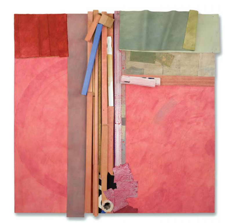 Bruce Dorfman, Kizuki, 2016. Canvas, wood, metal, paper, fabric, acrylic paint, pencil, 62 × 60 × 6 in. Courtesy June Kelly Gallery, New York Photo: Deborah Winiarski