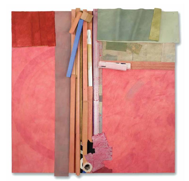 Bruce Dorfman, Kizuki, 2016. Canvas, wood, metal, paper, fabric, acrylic paint, pencil, 62 × 60 × 6 in. Courtesy June Kelly Gallery, New York Photo: Deborah Winiarski