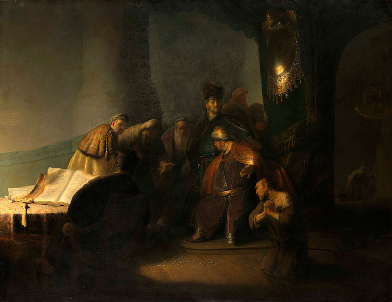 Rembrandt, Judas Returning the Thirty Pieces of Silver, 1629. Oil on panel. Private collection.