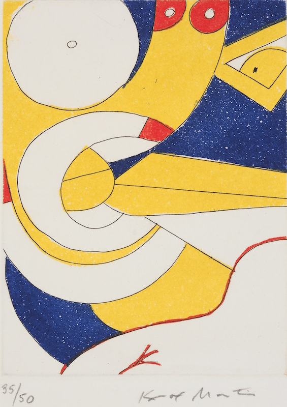 Knox Martin, Theta Woman Series, 1979. Etching and color aquatint on paper, 5 7/8 x 4 3/8 in. ©Knox Martin/Licensed by VAGA, New York, NY