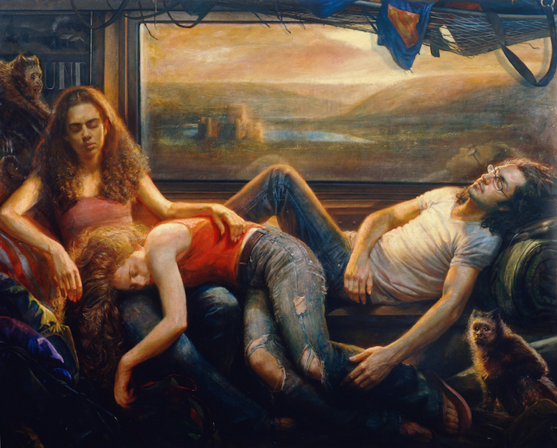 Steven Assael, Passengers, 2008. Oil on canvas, 72 x 90 in. Collection of John B. Bolton.  © Steven Assael, Courtesy of Forum Gallery, New York.