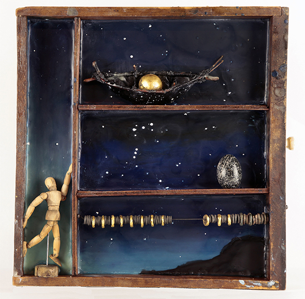 Catherine Nash, Traversing Stars, 2013. Encaustic, raku fired clay, handmade paper and found objects in an antique drawer; 15 x 15 x 2½ in.