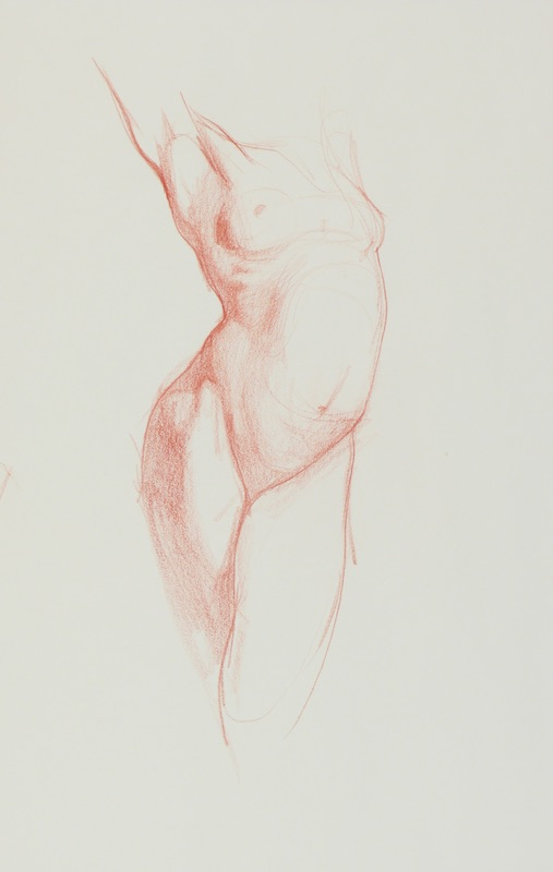 Dan Gheno, Core Figure, 2009.Sanguine crayon, 17½ x 15 in. Collection of the artist.
