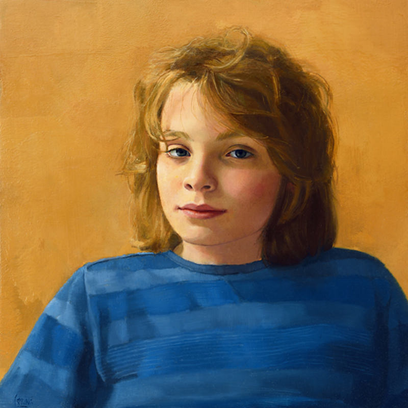 """Sharon Sprung, """"L"""". Oil on panel, 16 x 16 in. Sharon Sprung portrait commission"""