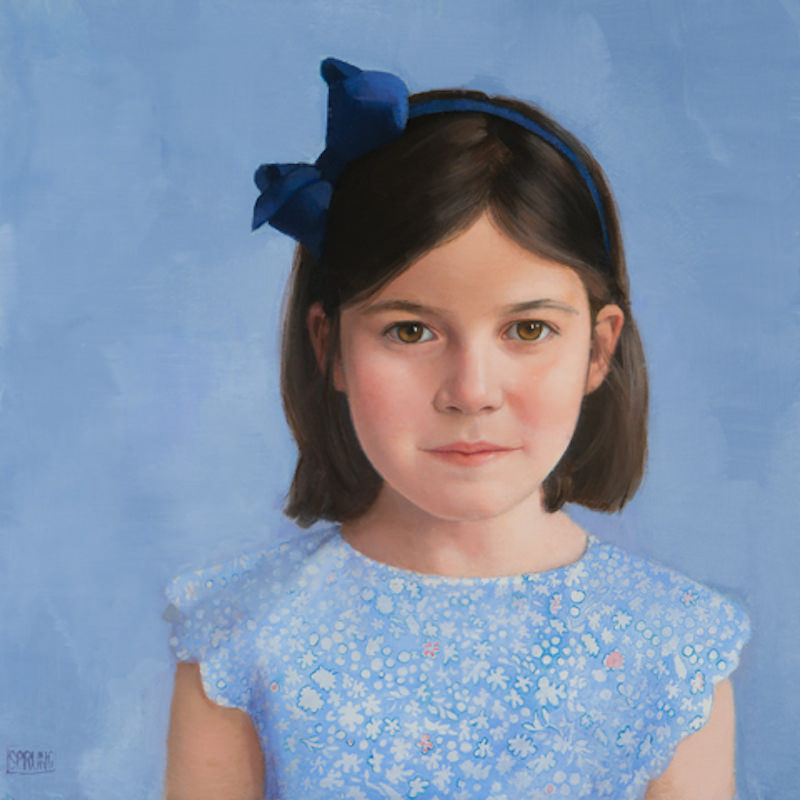 Sharon Sprung, Julia. Oil on panel, 16 x 16 in. Sharon Sprung portrait commission