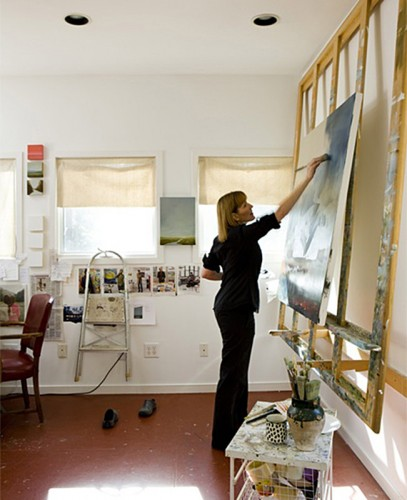 marketing images of artist in studio and home