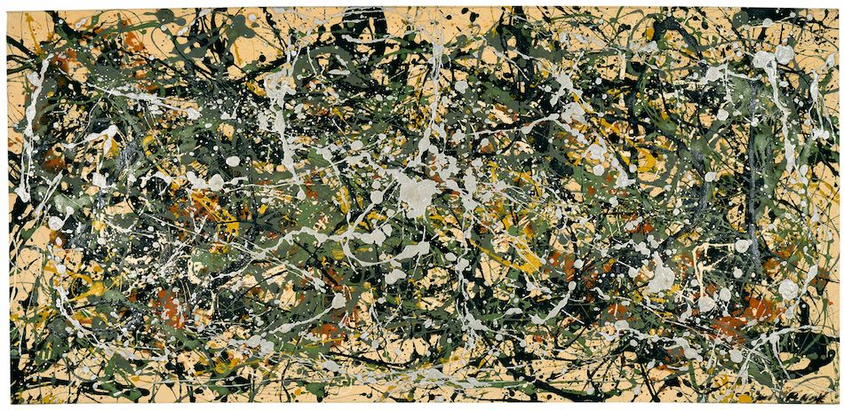 Jackson Pollock, Number 8, 1949, 1949, oil, enamel, and aluminum paint on canvas, 34 x 71½ in. Collection Neuberger Museum of Art, Purchase College, State University of New York, Gift of Roy R. Neuberger, 1971.02.11 © 2016 The Pollock-Krasner Foundation /Artists Rights Society (ARS), New York Photo: Jim Frank. Courtesy American Federation of Arts