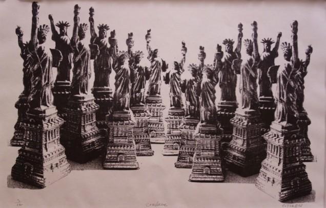 Stone lithograph by Carole Turbin