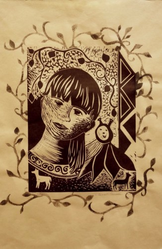 Linocut by Veronique Godard
