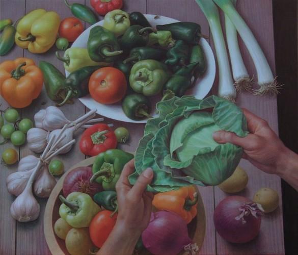 Doug Safranek, Gathered By Hand, egg tempera on panel, 22- X 25 3-4-, 2017