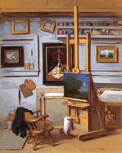 Thomas Torak_Studio Interior with Nocturne_2013_Oil on linen_30 x 24