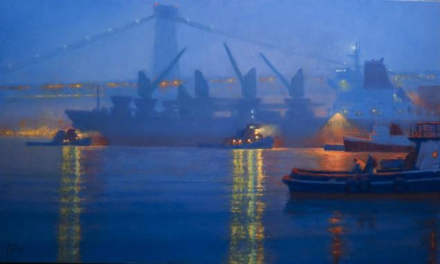 Ttwilight fog, East River