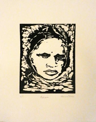 43. Charlene Tarbox, woodcut