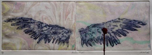 Etching on marble paper by Natsuko Matsumura