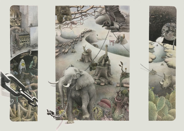 Yasuaki Okamoto_The Answer of _Can Nonhuman Animals Commit Suicide_, 2019, Lithograph with hand coloring Edition of 10, Tryptich Image 30_x40_(1)