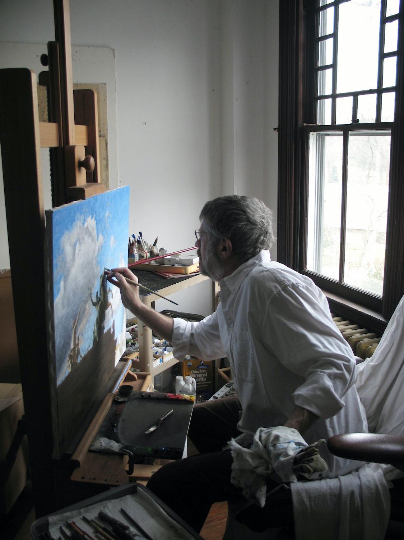 Painter Ephraim Rubenstein in his home studio