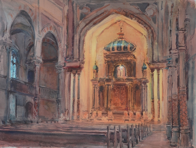 Timothy J. Clark, Central Synagogue, NYC, 2015. Watercolor, 17 x 21 in.