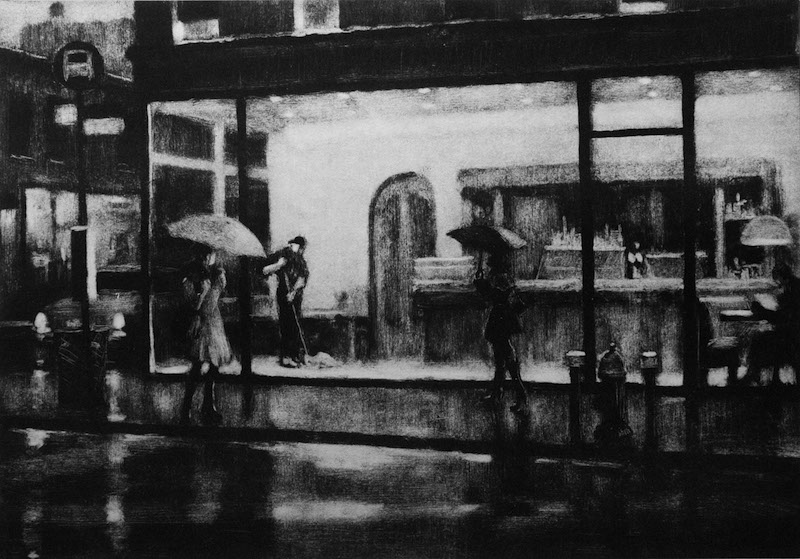 Joseph Peller, Closing Time, 2015. Black-and-white etching, edition of 30, 13 13/16 x 19.7/8 in. Courtesy ACA Galleries New York, New York