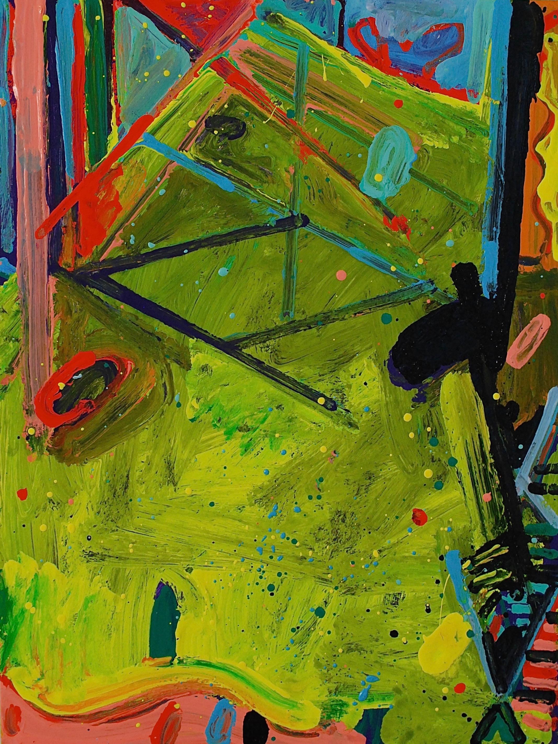"Peter Reginato, Green One"", 2015. Enamel on wood panel, 24 x18 in."