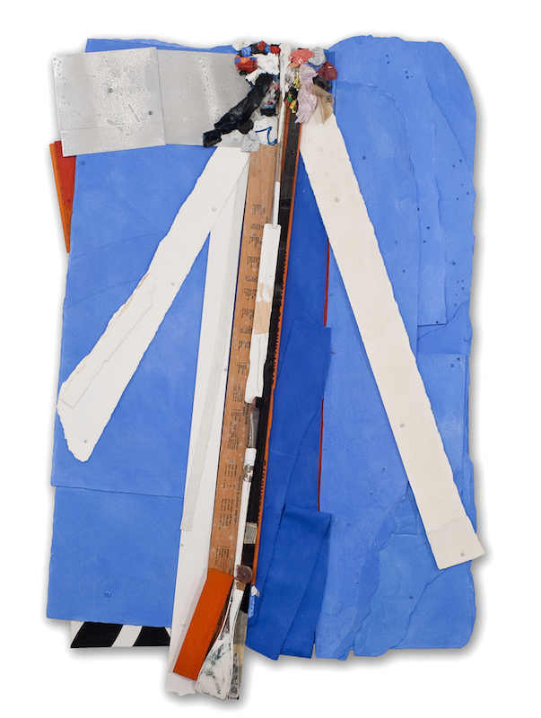 Bruce Dorfman, Flight X, 2015. Flite X, 2015 Canvas, wood, metal, paper, acrylic, 58 x 45 x 6 in. (overall).