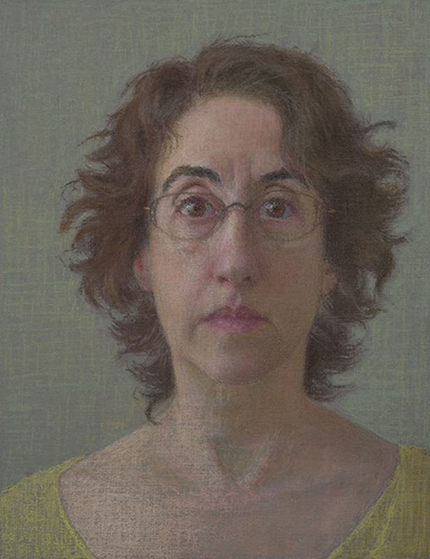 Ellen Eagle, Self-Portrait, 2016. Pastel on pumice, 9 x 7½ in.