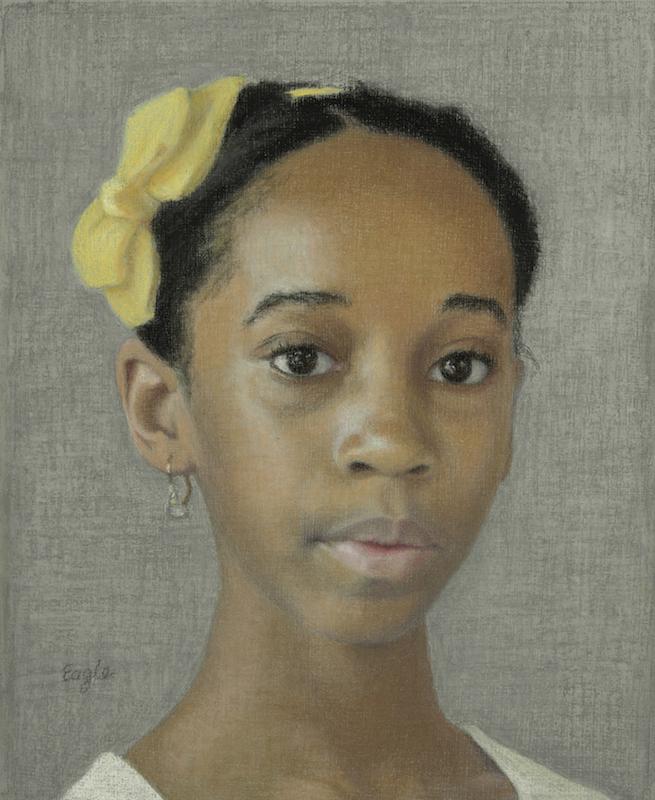 Ellen Eagle, Portrait of the Young Artist Marela Alvarez, 2014. Pastel on board, 11⅛ x 9¼ in.