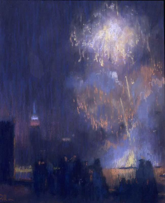 Joseph Peller, Fireworks, undated. Pastel on paper, 20 x 16 in.