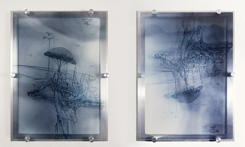 Naomi Campbell, Jesters are wild, 2013. Plexiglas mount with printed X-ray photography and drawing images, aluminum, plastic, metal (diptych), 26 x 41 x 2 in.
