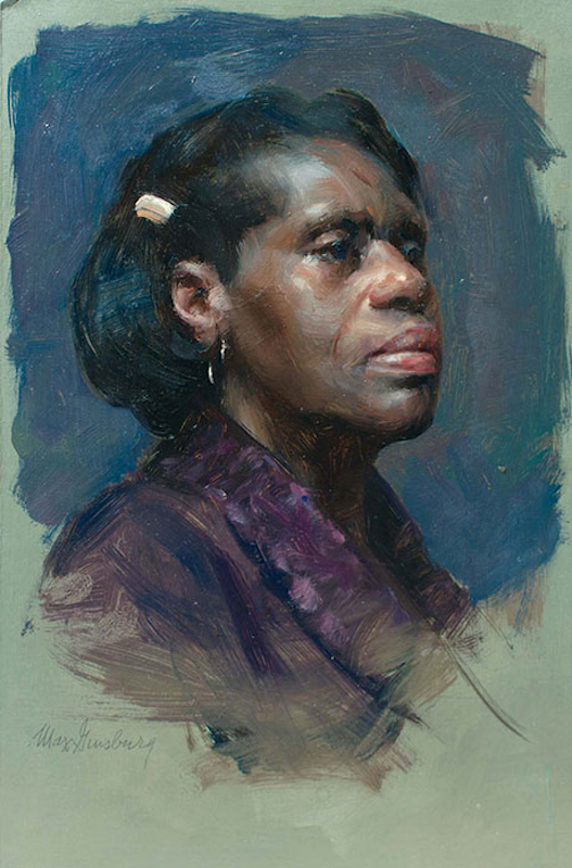 Max Ginsburg, Donna, 2010. Oil on masonite, 10 x 7 in.