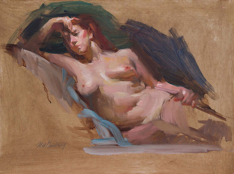 Max Ginsburg, Nude Sketch at Garin's, 2010. Oil on masonite, 16 x 12 in.