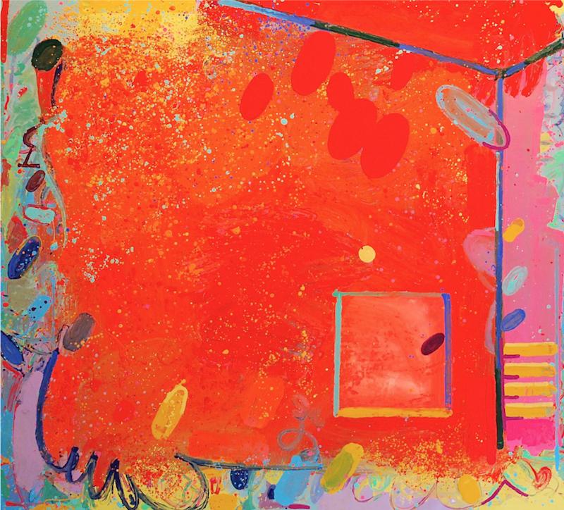 Peter Reginato, California Orange, 2015. Enamel on canvas, 60 x 66 in.