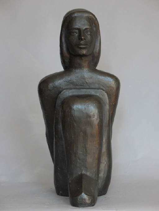 Richard Barnet, Seated Figure, 2002. Bronze with black patina, 8 x 18 x 9 in.