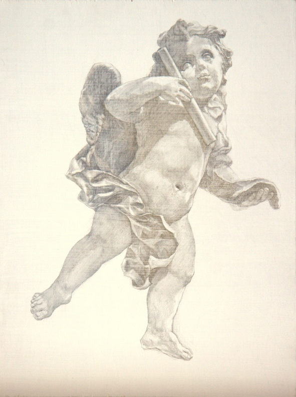 Sherry Camhy, Cherub–Music Muse. Silver and gold on wood, 15½ x 11½ in.