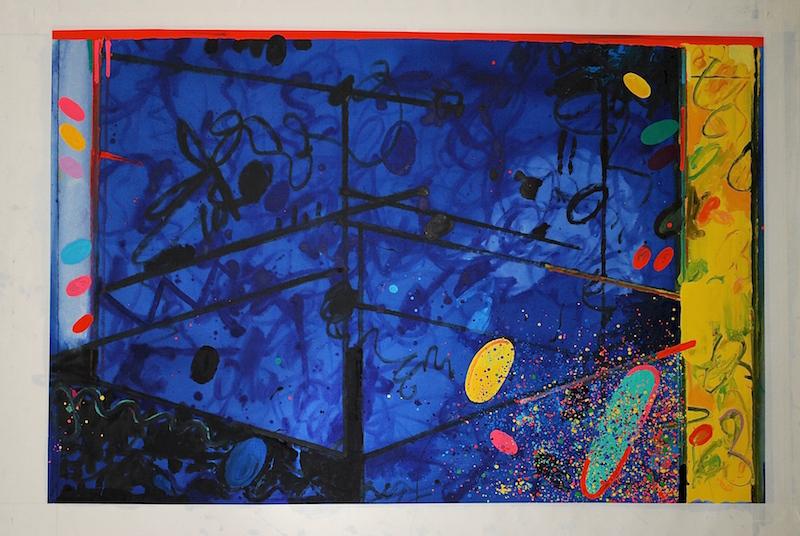 Peter Reginato, Television, 2014. Enamel on canvas, 49 x 74 in.