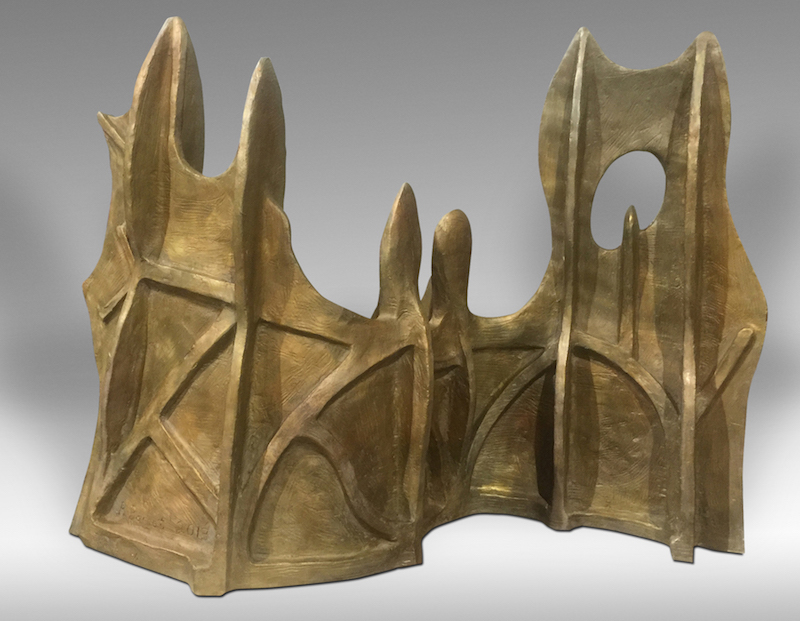Richard Barnet, Wall with 7 Towers, 2013. Bronze, H: 21 x W: 27 x D: 9 in.