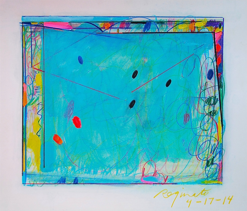 Peter Reginato, 4-17-14, 2014. Watercolor pencil and acyclic, 21 x 24 in.
