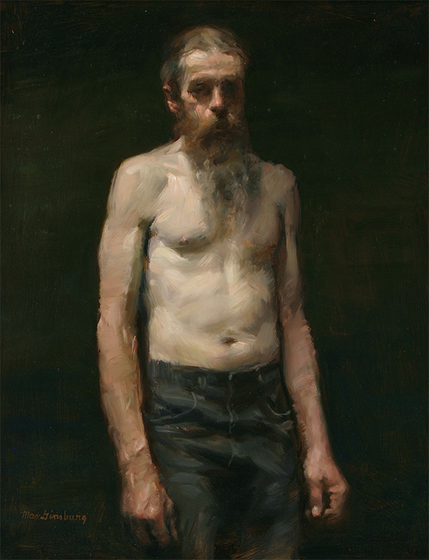 Max Ginsburg,Pat—Bearded and Shirtless, 2012. Oil, 18 x 14 in.