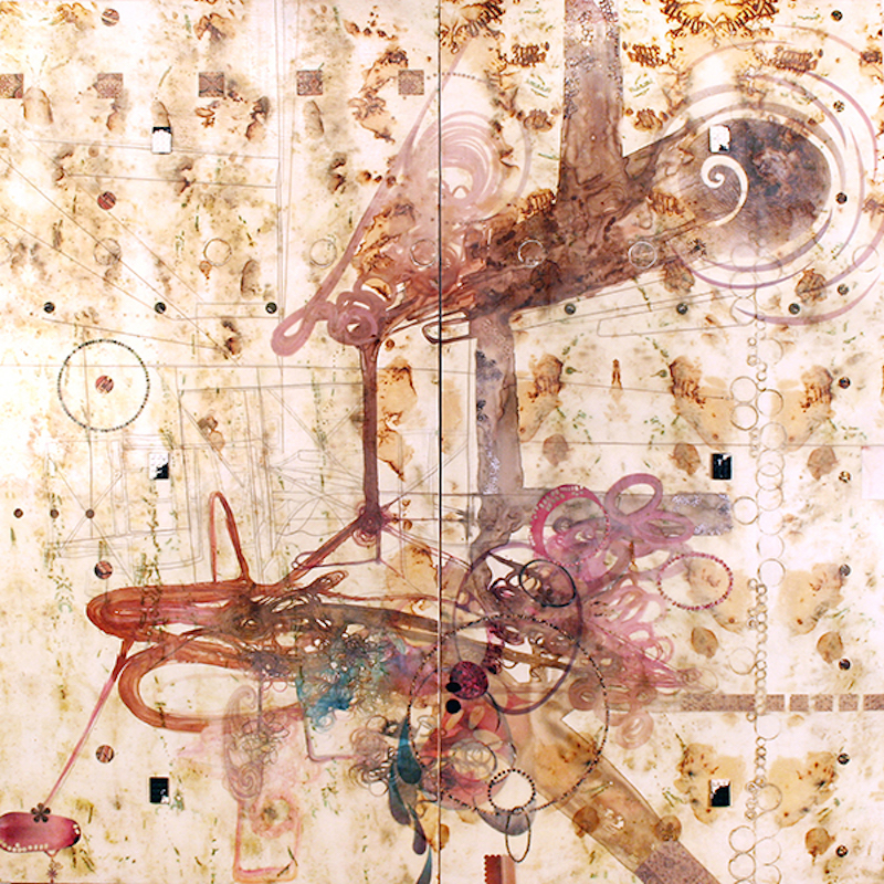Lorraine Glessner,  Under the Bridge, 2013. Encaustic, mixed media, horse and human hair on composted and branded silk on wood, 48 x 48 in.