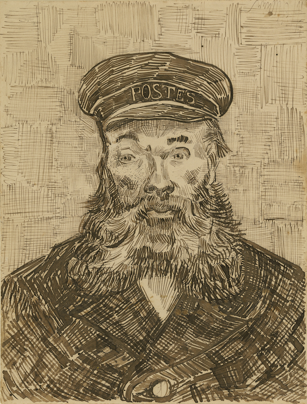 Vincent Van Gogh, Portrait of Joseph Roulin, 1888. Reed and quill pens and brown ink and black chalk, 12 5/8 x 9 5/8 in. The J. Paul Getty Museum.