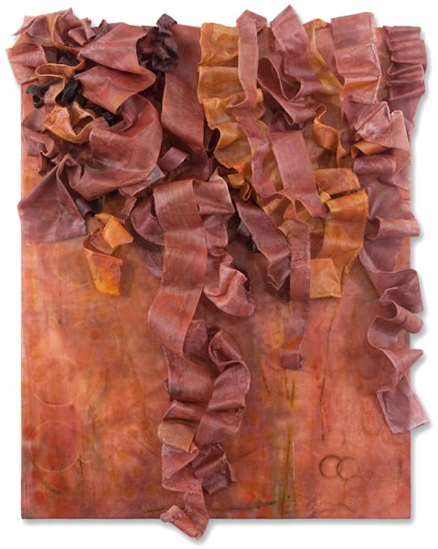 Deborah Winiarski, Saffron III, 2014. Encaustic, fabric, thread, oil on panel, 25 x 21 x 5 in.